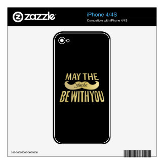 Funny Black Mustache - May the Stache be with you iPhone 4 Decal