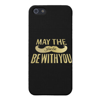 Funny Black Mustache - May the Stache be with you iPhone SE/5/5s Cover