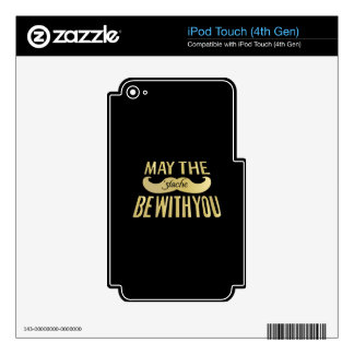 Funny Black Mustache - May the Stache be with you iPod Touch 4G Skin