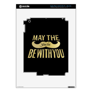 Funny Black Mustache - May the Stache be with you Skin For iPad 3