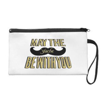 Funny Black Mustache - May the Stache be with you Wristlet Purse