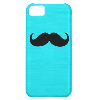 Funny Black Mustache on Aqua Background iPhone 5C Cover