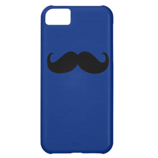 Funny Black Mustache on Dark Blue Background Case For iPhone 5C