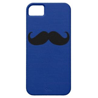 Funny Black Mustache on Dark Blue Background iPhone SE/5/5s Case