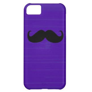 Funny Black Mustache on Dark Purple Background iPhone 5C Case