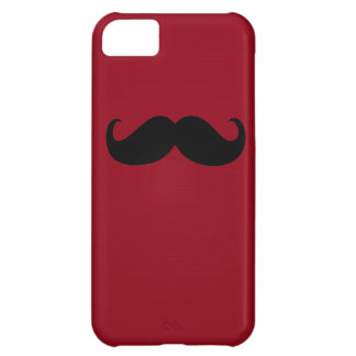 Funny Black Mustache on Dark Red Background iPhone 5C Case