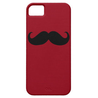 Funny Black Mustache on Dark Red Background iPhone SE/5/5s Case
