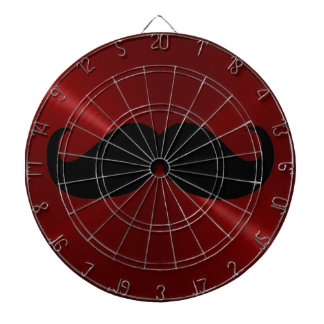 Funny Black Mustache on Metal Red Background Dartboard With Darts