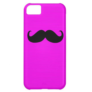 Funny Black Mustache on Pink Background Cover For iPhone 5C