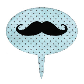 Funny Black Mustache On Teal Blue Polka Dots Cake Topper
