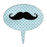 Funny Black Mustache On Teal Blue Polka Dots Cake Topper at Zazzle