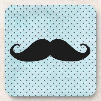 Funny Black Mustache On Teal Blue Polka Dots Coaster