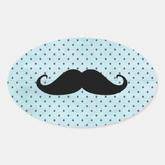 Funny Black Mustache On Teal Blue Polka Dots Oval Sticker