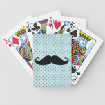 Funny Black Mustache On Teal Blue Polka Dots Card Deck