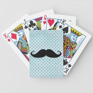 Funny Black Mustache On Teal Blue Polka Dots Card Deck