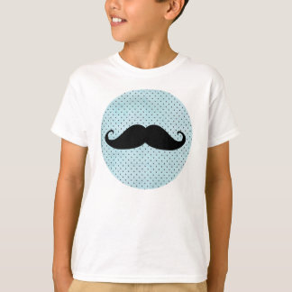 Funny Black Mustache On Teal Blue Polka Dots T-Shirt
