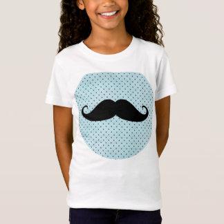Funny Black Mustache On Teal Blue Polka Dots T-Shirt