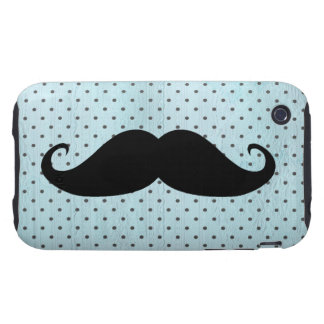Funny Black Mustache On Teal Blue Polka Dots Tough iPhone 3 Case