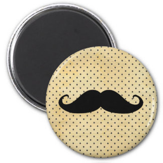 Funny Black Mustache On Vintage Yellow Polka Dots 2 Inch Round Magnet