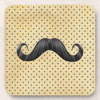 Funny Black Mustache On Vintage Yellow Polka Dots Beverage Coaster