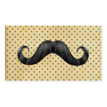 Funny Black Mustache On Vintage Yellow Polka Dots Business Card Templates
