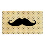 Funny Black Mustache On Vintage Yellow Polka Dots Business Card Template