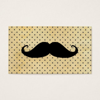 Funny Black Mustache On Vintage Yellow Polka Dots Business Card