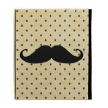 Funny Black Mustache On Vintage Yellow Polka Dots iPad Cases