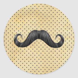 Funny Black Mustache On Vintage Yellow Polka Dots Classic Round Sticker