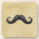 Funny Black Mustache On Vintage Yellow Polka Dots Coaster