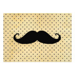 Funny Black Mustache On Vintage Yellow Polka Dots Custom Invitation