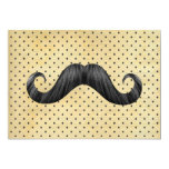 "Funny Black Mustache On Vintage Yellow Polka Dots 5"" X 7"" Invitation Card"
