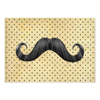 Funny Black Mustache On Vintage Yellow Polka Dots 5x7 Paper Invitation Card