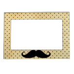 Funny Black Mustache On Vintage Yellow Polka Dots Magnetic Picture Frame