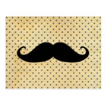Funny Black Mustache On Vintage Yellow Polka Dots Postcard at Zazzle