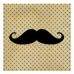 Funny Black Mustache On Vintage Yellow Polka Dots Posters