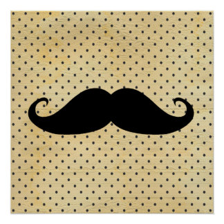 Funny Black Mustache On Vintage Yellow Polka Dots Poster