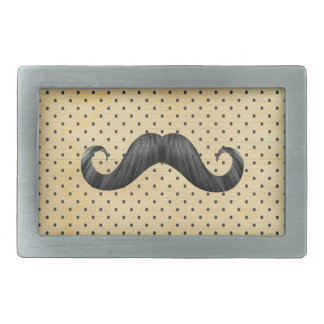 Funny Black Mustache On Vintage Yellow Polka Dots Rectangular Belt Buckle