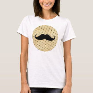 Funny Black Mustache On Vintage Yellow Polka Dots T-Shirt