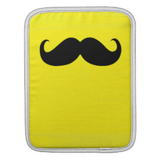 Funny Black Mustache on Yellow Background Sleeve For iPads