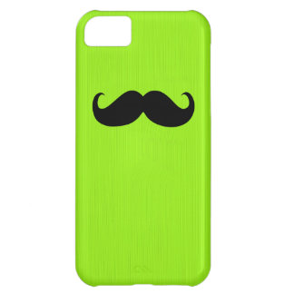 Funny Black Mustache on Yellow Green Background Cover For iPhone 5C