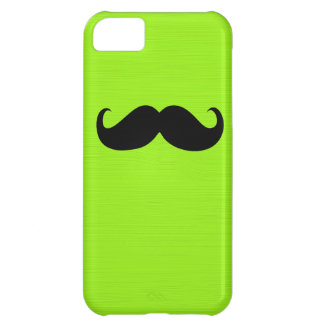 Funny Black Mustache on Yellow Green Background iPhone 5C Cover