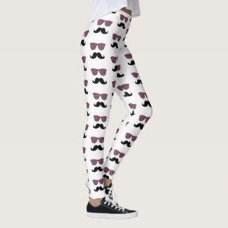 Funny Black Mustache Pink Sunglasses Pattern Leggings