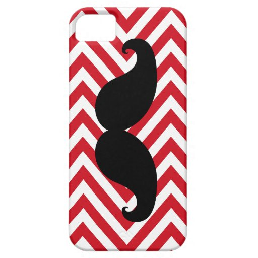 Funny Black Mustache Red Chevron iPhone 5 Case