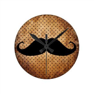 Funny Black Mustache Round Clock