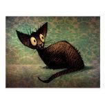 Funny Black Oriental Cat Damask Kitten Art Postcard