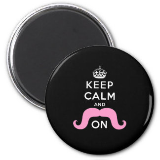 Funny Black, Pink Keep Calm and Mustache On Magnet