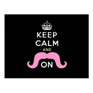 Funny Black, Pink Keep Calm and Mustache On Postcard