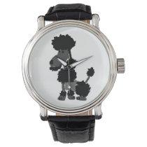 Funny Black Poodle Dog Art Wristwatch