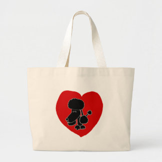 Funny Black Poodle Heart and Love Jumbo Tote Bag